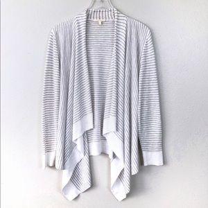 Eileen Fisher Stripe Linen Open Front Cardigan